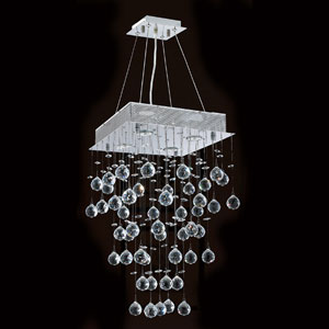 Icicle Four-Light Chrome Finish with Clear-Crystals Chandelier