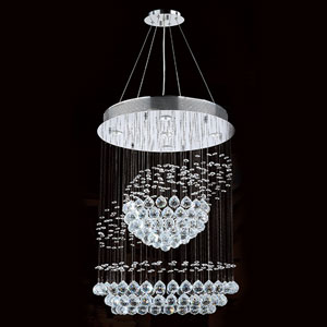 Saturn Five-Light Chrome Finish with Clear-Crystals Chandelier