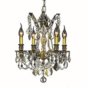 Windsor Flemish Brass and Golden Teak Four-Light Chandelier