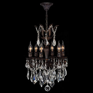 Versailles Six-Light Flemish Brass Finish with Clear-Crystals Chandelier