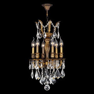 Versailles Six-Light Antique Bronze Finish with Clear-Crystals Chandelier