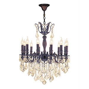 Versailles Flemish Brass and Golden Teak 24-Inch Twelve-Light Chandelier