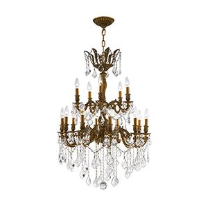 Versailles French Gold 27-Inch Fifteen-Light Chandelier