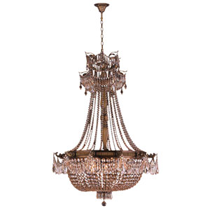 Winchester Antique Bronze 12-Light Chandelier with Golden Teak Crystal