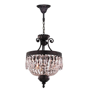 Enfield Flemish Brass 18-Inch Three-Light Chandelier