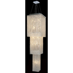 Prism 20-Light Chrome Finish with Clear-Crystals Chandelier 3 Tiers