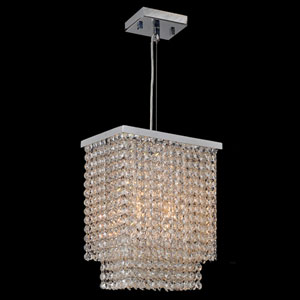 Prism Three-Light Chrome Finish with Clear-Crystals Mini Pendant
