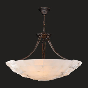 Pompeii Five-Light Flemish Brass Finish Natural Quartz Bowl Pendant
