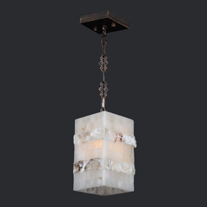 Pompeii Flemish Brass Finish Natural Quartz Mini-Pendant Square