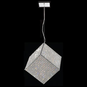 Cube 13-Light Chrome Finish with Clear-Crystals Pendant