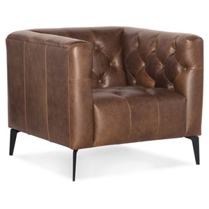 Nicolla Blrown Leather Stationary Chair
