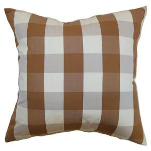 Kamuela Brown 18 x 18 Plaid Throw Pillow