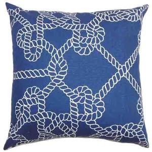 Accalia Navy Blue 18 x 18 Coastal Throw Pillow