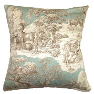 Feramin Toile Pillow Aqua Back