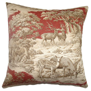Feramin Toile Pillow Redwood Front