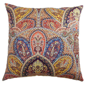La Ceiba Paisley Pillow Blue Multi-Colored