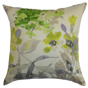 Naryany Green 18 x 18 Floral Throw Pillow