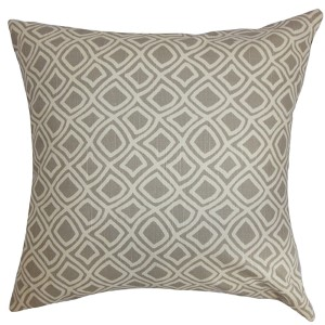 Cacia Gray 18 x 18 Geometric Throw Pillow