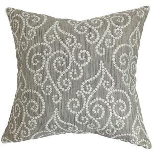Cienne Gray 18 x 18 Swirls Throw Pillow