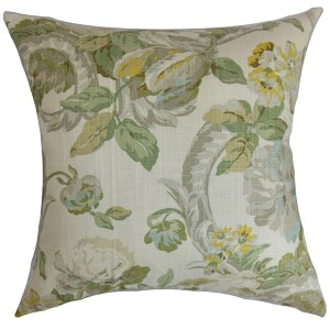 Khorsed Gray 18 x 18 Floral Throw Pillow