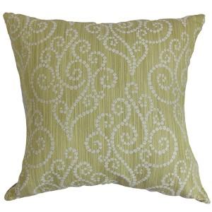 Cienne Green 18 x 18 Swirls Throw Pillow