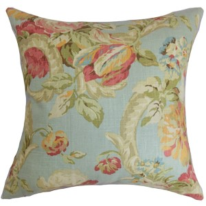 Khorsed Blue 18 x 18 Floral Throw Pillow