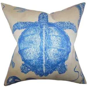 Aeliena Natural Blue 18 x 18 Coastal Throw Pillow