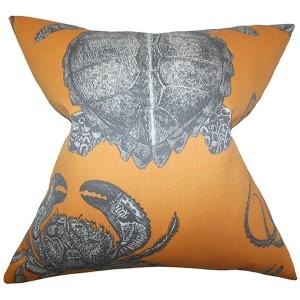 Aeliena Orange 18 x 18 Coastal Throw Pillow