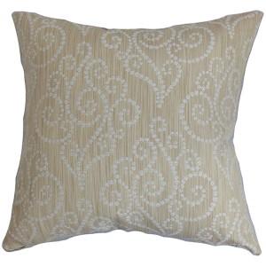 Cienne Neutral 18 x 18 Swirls Throw Pillow