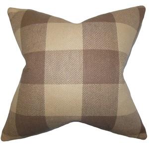 Abrial Brown 18 x 18 Plaid Throw Pillow