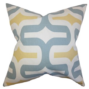 Jaslene Macon and Yellow 18 x 18 Geometric Throw Pillow