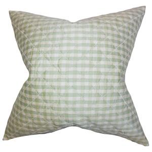 Addisyn Light Green 18 x 18 Plaid Throw Pillow