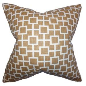 Janka Brown 18 x 18 Geometric Throw Pillow