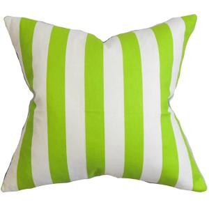 Ilaam White and Green 18 x 18 Stripes Throw Pillow