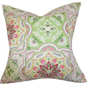Luana Green 18 x 18 Floral Throw Pillow