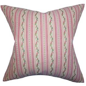 Elili Pink 18 x 18 Stripes Throw Pillow