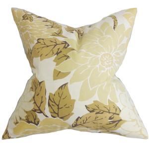 Kerensa Neutral 18 x 18 Floral Throw Pillow