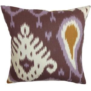 Bentshaya Purple 18 x 18 Ikat Throw Pillow