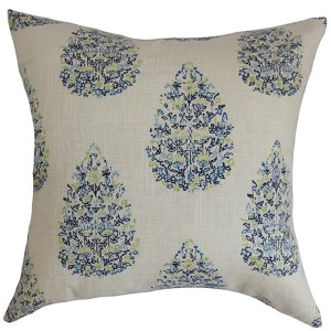 Faeyza Blue and Green 18 x 18 Floral Throw Pillow