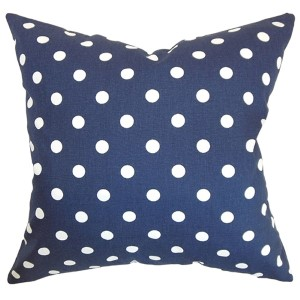 Nancy Blue and White 18 x 18 Patterned Throw Pillow