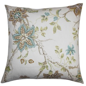Ululani Brown 18 x 18 Floral Throw Pillow