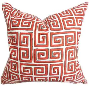 Klemens Red 18 x 18 Geometric Throw Pillow