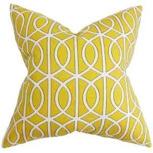 Lior Yellow 18 x 18 Geometric Throw Pillow