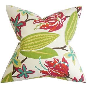 Averill Pink 18 x 18 Floral Throw Pillow