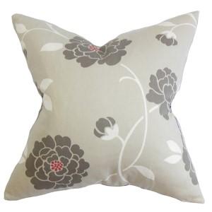 Graziela Gray 18 x 18 Floral Throw Pillow