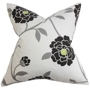 Graziela Black 18 x 18 Floral Throw Pillow