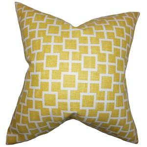 Janka Yellow 18 x 18 Geometric Throw Pillow