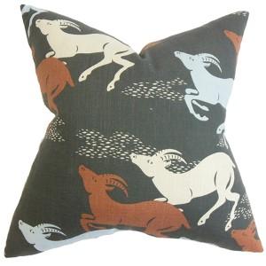 Naenia Red 18 x 18 Animal Throw Pillow