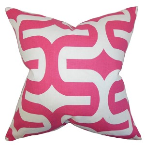 Jaslene Candy Pink 18 x 18 Geometric Throw Pillow