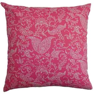 Aderyn Candy Pink and White 18 x 18 Paisley Throw Pillow